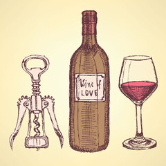 Sketch wine set in vintage style
