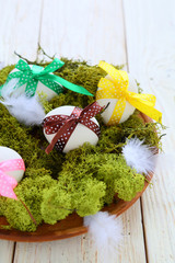 Easter eggs on moss