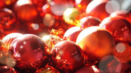 red and gold christmas ornaments background