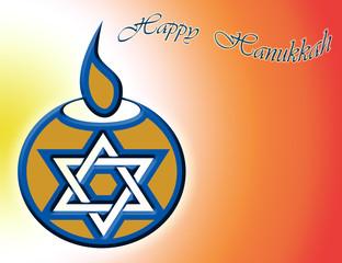 happy hanukkah candle illuminated