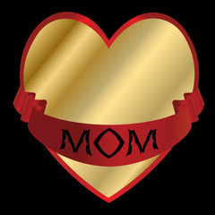 Golden Heart with a Red Ribbon For Mom