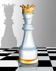 3d Schachfigur, König mit Schachbrett, hochglanz