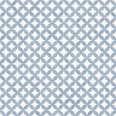 Blue and White Interconnected Circles Tiles Pattern Repeat Backg
