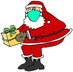 Santa wearing a face mask