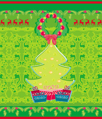 card with Xmas tree and reindeers