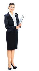 Beautiful businesswoman holds a work plan.