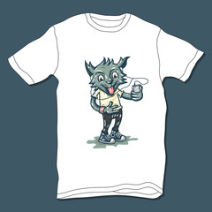 T-shirt design with Cartoon cat and smartphone