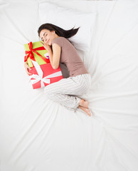 Woman dreams about presents concept