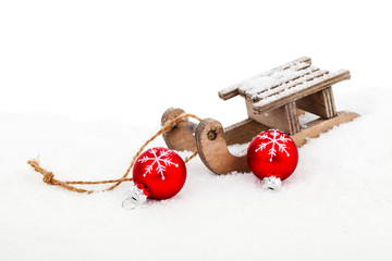Old vintage wooden sled on white background