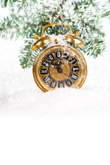 vintage christmas decoration - antique golden clock and fir-tree