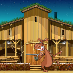 cartoon character smiling moose standing near the wooden barn