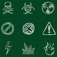 Vector Set of Chalk Warning  Icons