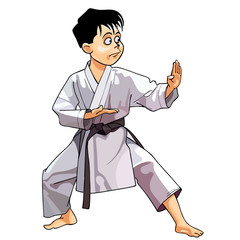 cartoon karate boy dressed in a kimono standing in rack