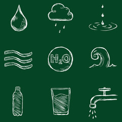 Vector Set of Chalk Water Icons