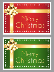 Merry christmas. Red and green shiny greeting cards.