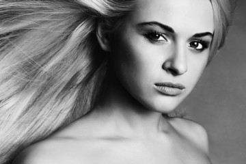 Beautiful Young Woman.Blond girl.monochrome portrait