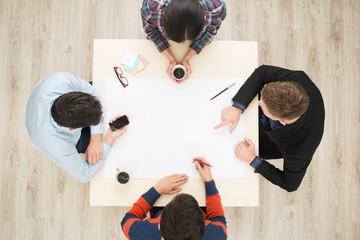 Top view table with group of people