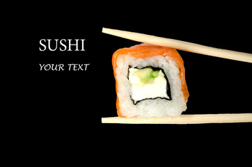 Sushi with example text