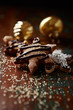 Gingerbread cookies with dark chocolate and coconut