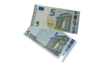 new and old five euro banknote