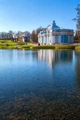 Blue classical architecture of baroque in Tsarskoye Selo