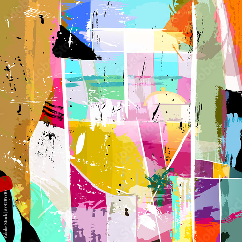 abstract background composition, with paint strokes, splashes an © Kirsten Hinte