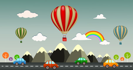 Hot air balloon with view highway