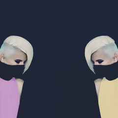 Two Blondes ninja style. Fashion original photo