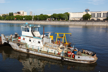 old river tug on the Moscow River