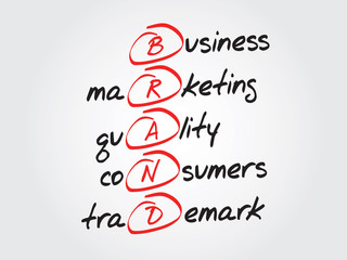 Hand writing BRAND, vector business concept acronym