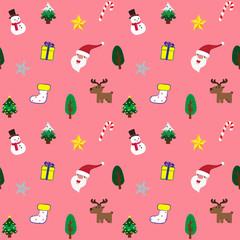 Christmas theme background pink seamless pattern