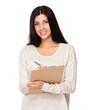 Woman take note on clipboard