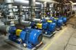 Leinwandbild Motiv Blue industrial pump