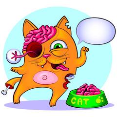 Zombie red Cat. Halloween illustration