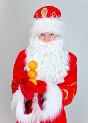 Santa Claus shows snowman made of tangerines.