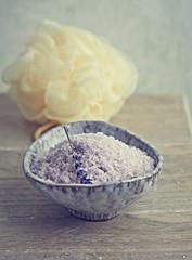 Lavender bath salt in a ceramic dish