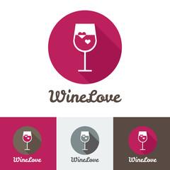 Vector modern flat wine shop, restaurant or bar logo