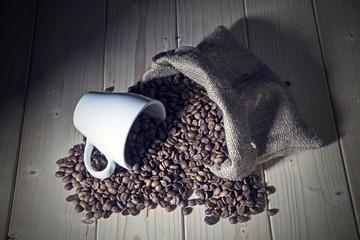 Burlap sack full of coffee beans