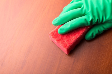 Cleaning glove with a sponge. Closeup