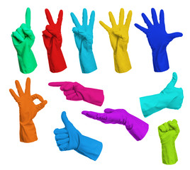 Collage of colorful rubber gloves