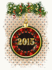 Happy 2015 new year card with casino poker chip