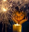 girl with a candle and sparkler