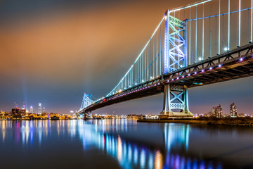 Ben Franklin Bridge and Philadelphia skyline by night