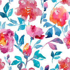 rose, watercolor, pattern