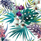 Photo: pattern orchid hibiscus leaves watercolor tropics