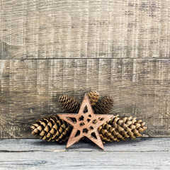 Christmas star with pine cones