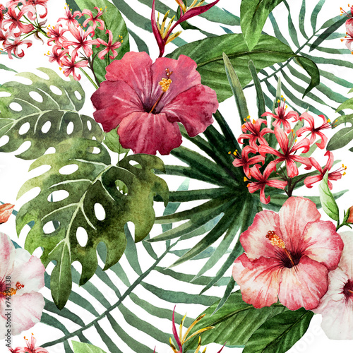 Staande foto Palm boom pattern orchid hibiscus leaves watercolor tropics