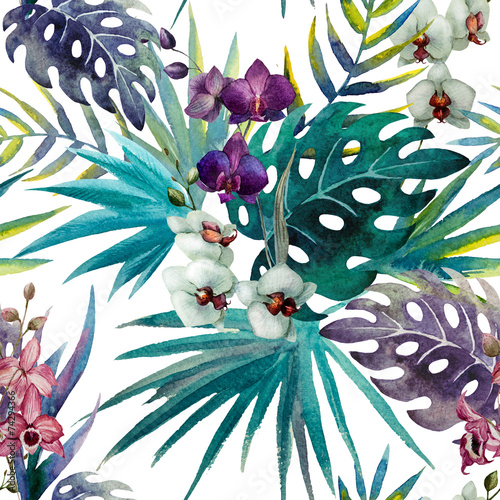 pattern orchid hibiscus leaves watercolor tropics - 74294366
