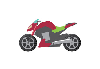 sport motorcycle red vector illustration green