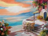 oil painting on canvas - Greek embankment